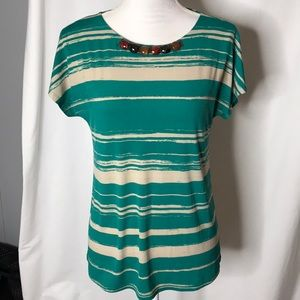 NWT Susan Graver Beaded Neckline Top Size XS